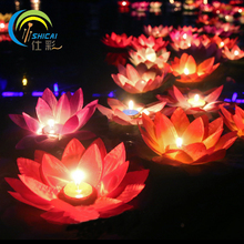 Romantic Valentine's Day Gift Lotus Wishing Lamp Votive Candle Floating Candle Lamp Water Flower Lantern Wedding Decoration candle lamp mom gift meditation gift romantic candle lamp with eight candle for bedroom beach house camping with green water liquid base with fish green tone