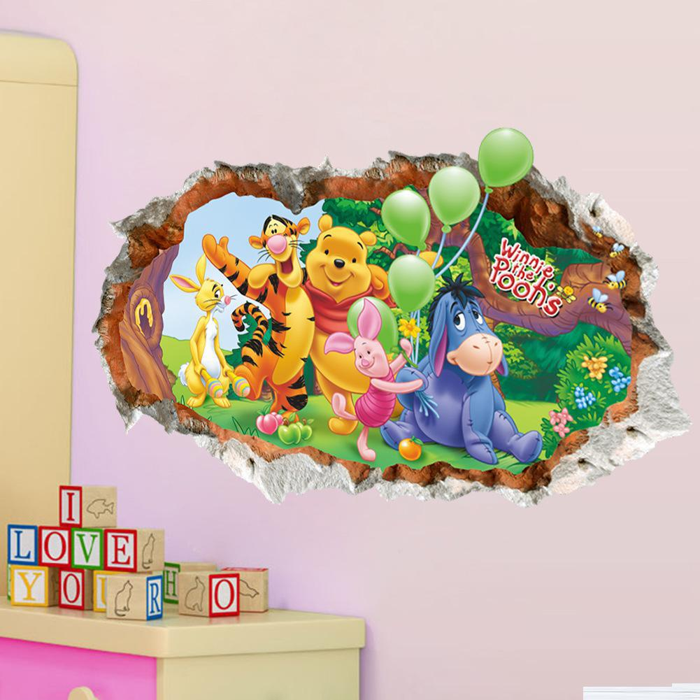 Modern Creative 3D Cartoon Winnie The Pooh Wall Stickers For Kids Room Kindergarten Classroom Decoration Labels
