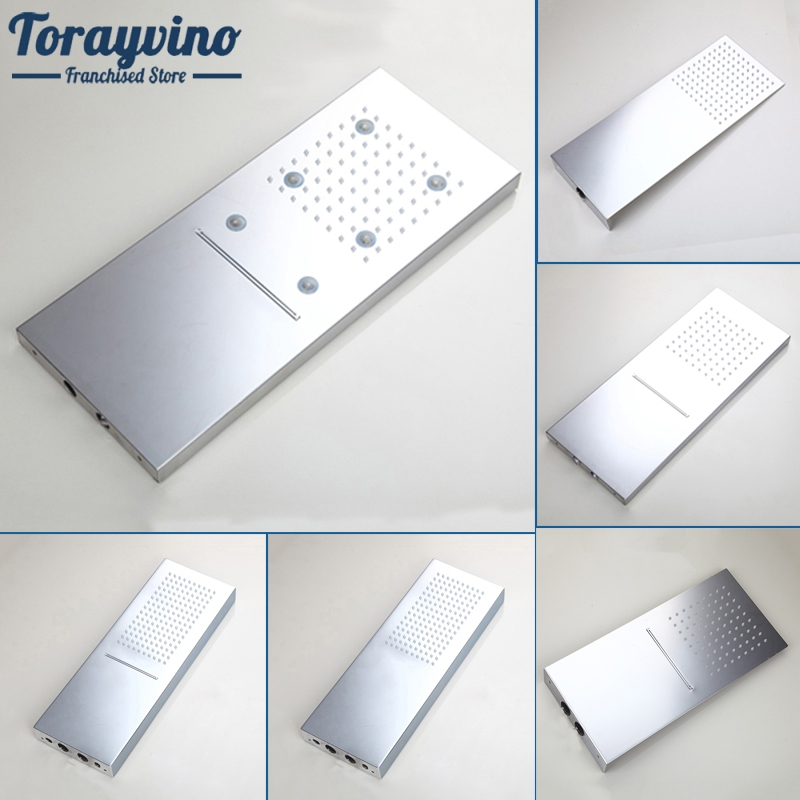 Luxury LED Light New Chrome Rainfall Square 304 Stainless Steel Shower Head Bathroom Shower Wall Mounted Basin Overhead ydl bd005 1 16 temperature control 24 led rgb light 304 stainless steel square shower head silver