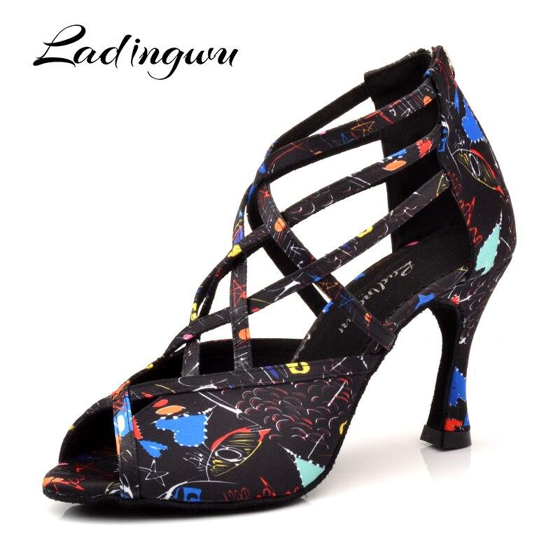 Ladingwu Salsa Dance Shoes Woman Girls Roman Boots Latin Dance Shoes Soft Bottom New Modern Floral Satin  Ballroom Dance Shoes