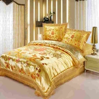 red satin dragon chinese Duvet Cover Set Print Modern suits 4pcs jacquard queen/king size
