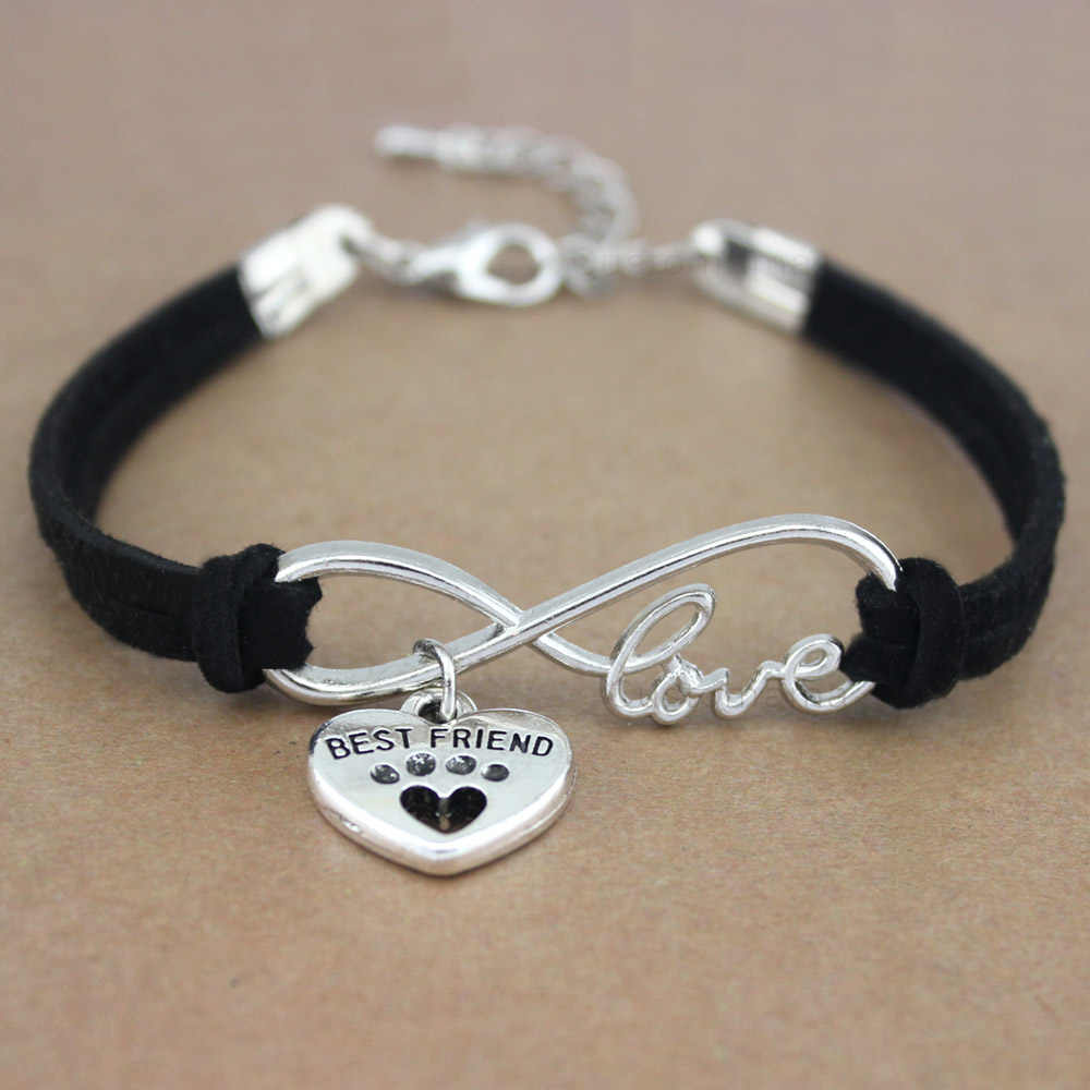 Best Friends Dog Paws Heart Unicorn Animal Infinity Love Charm Bracelets Women Men Girl Boy Unisex Jewelry 20 Colors to Choose