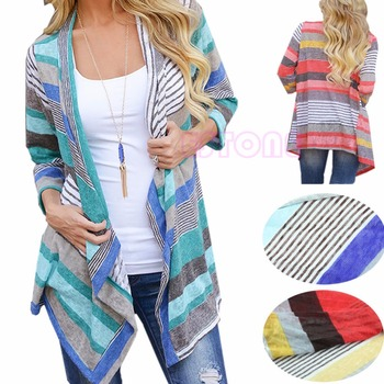 Women Cardigan Loose Sweater Long Sleeve Cotton Stripe Outwear Knitted Jacket Coat Tops Hot Sale New