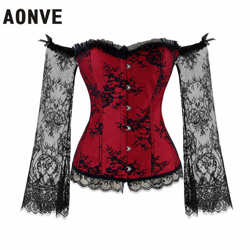 ba94fa0ead AONVE Women Steampunk Corsets Sexy Lace Long Sleeve Corselet Lace Up Off  Shoulder Bustiers Gothic Gorset