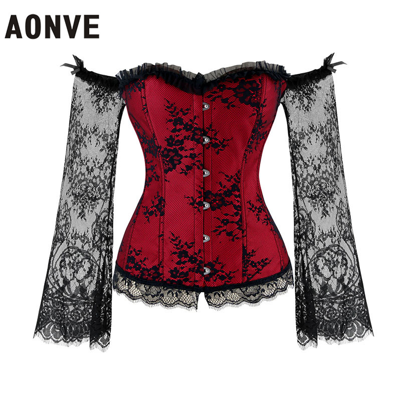 AONVE Women Steampunk Corsets Sexy Lace Long Sleeve Corselet Lace Up Off Shoulder Bustiers Gothic Gorset Tops Waist Trainer