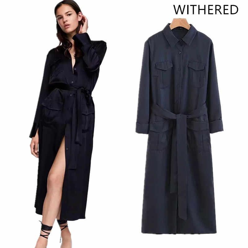 4164bdd62882 Withered 2018 vestidos feminina dress england style solid pockets sashes bow  splid button regular midi dress