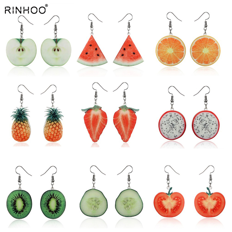 Акриловые милые серьги с фруктами клубника, ананас томатный киви оранжевый огурец Дракон apple Pine apple серьги с фруктами Изящный Подарок