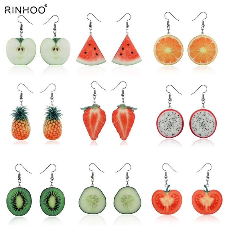 Acrylic Cute Fruit Earrings Strawberry pineapple tomato kiwi orange cucumber dragon apple Pineapple fruit Earrings Dainty Gift