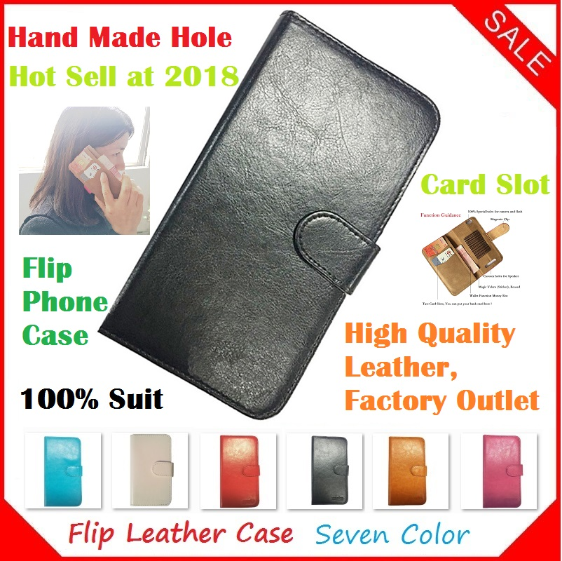Fly Era Life 7 IQ4505 Case, 2018 New Luxury Flip Crazy Horse Leather Phone Cases Capa for Fly Era Life 7 IQ4505 Case