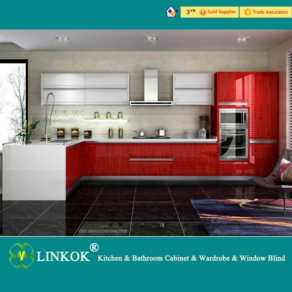 Linkok Furniture Cheap High Gloss UV Finish Modular Kitchen Cabinet Sale On Aliexpress