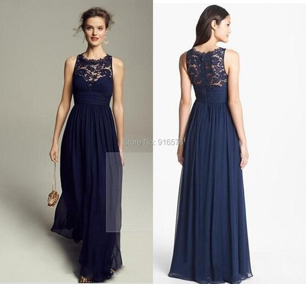 Lace chiffon bridesmaid dresses scoop neck sleeveless floor length lace chiffon bridesmaid dresses scoop neck sleeveless floor length navy blue wedding party gowns custom made 2015 very popular in bridesmaid dresses from ombrellifo Image collections