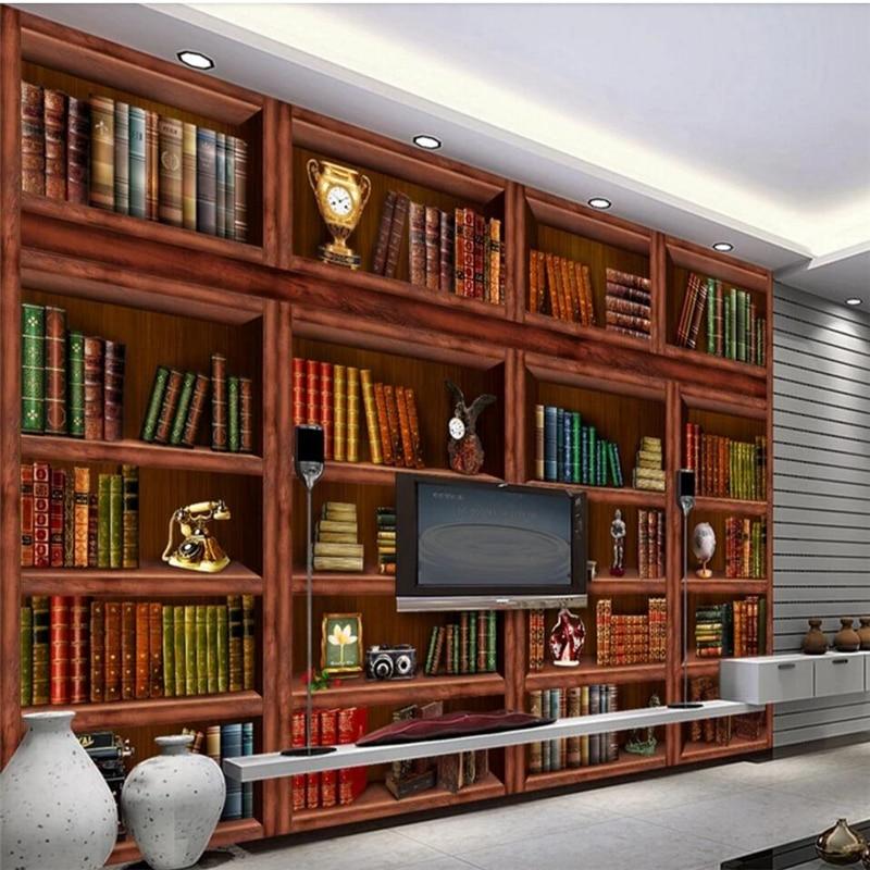 bookshelf bookcase mural living murals wallpapers beibehang papel improvement