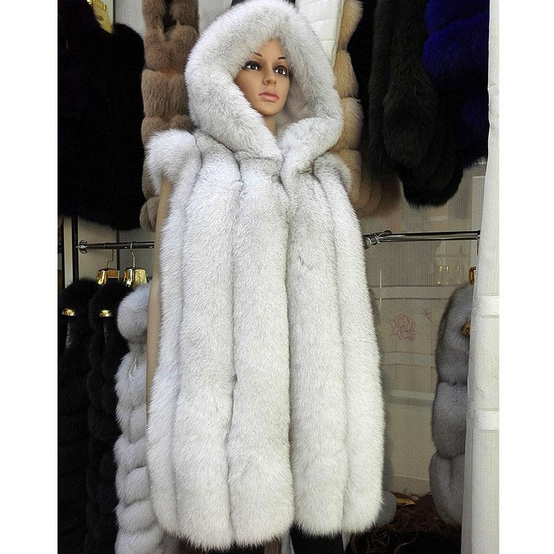 Russian Winter Coats Genuine Fox Fur Hooded Vest Natural Color ...