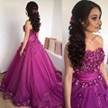 Querida Off The Shoulder vestido de Baile de Tule Roxo Da Flor do baile de Finalistas Trem de Varredura vestido De Robe De Soirée Luxo longas Puffy Prom vestidos