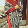Новое поступление шаль шерсти теплый мягкий двойного назначения кашемировый шарф ломаную клетку все матч сгущает Британский стиль мода платки femme