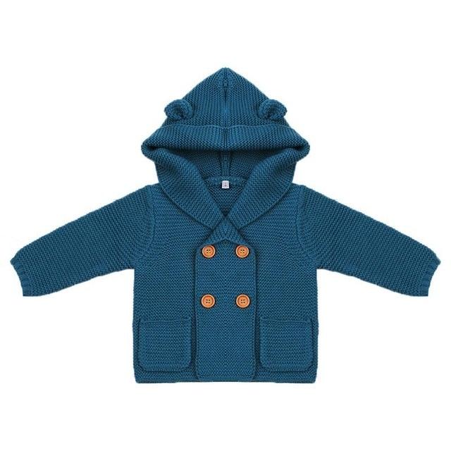 Pasgeboren Baby Breien Vest Winter Warm Baby Truien Jongens Meisjes Lange Mouw Kapmantel Jas Kids Uitloper Kleding Outfit 4