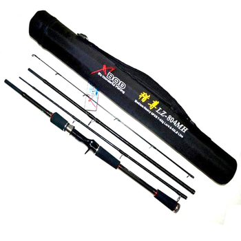 Free Shipping 4 Sections 2.1m 2.4m 7ft 8ft MH Action Carbon Lure Fishing Rod Strong Bait Casting Rod  Tackles