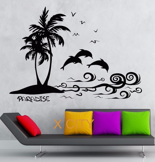 paradise palm island scenery sea wave dolphin wall art decal sticker