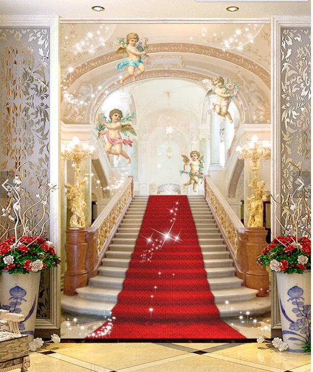 Custom  luxury 3D Wallpaper,angel and stairs to heaven for the living room bedroom TV background wall waterproof papel de parede custom baby wallpaper snow white and the seven dwarfs bedroom for the children s room mural backdrop stereoscopic 3d