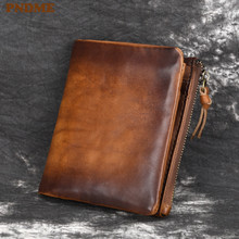 PNDME vintage first layer cowhide mens wallet simple high quality genuine leather short hasp ID holders credit card coin purses