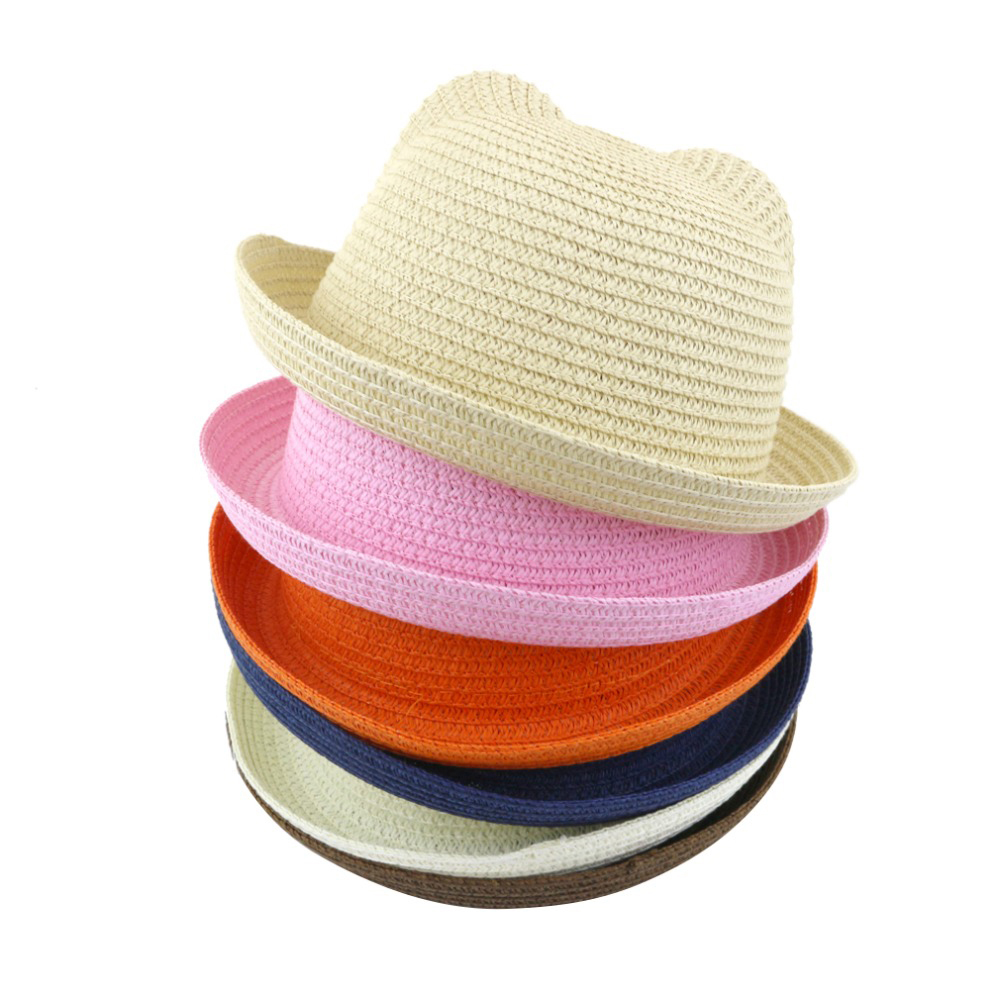 Ear Sunshade Hat Summer Hat Children Straw Hat Baby Hats Boy And Girl Summer Cap Kids Solid Beach Panama Caps Parent - Child