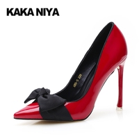 High Heels Lolita Shoes Play Ultra Thin Winkle Picker Bowknot Spring Pointed Toe Ultra High Heel