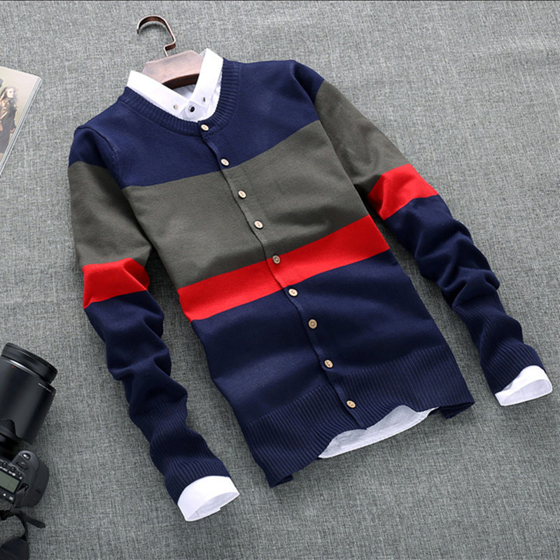 New Autumn Winter 2018 Men 'S Fashion Boutique Cotton Cardigan Knitting A Sweater Male Contrast Color Casual Sweater
