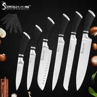 Sowoll 6 Pcs Kitchen Knives Set Good Quality Economical Stainless Steel Knife Set Chef Bread Slicing Santoku Utility Fruit knife