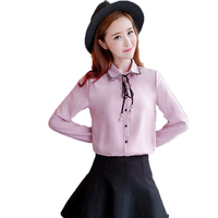 Office Women S Chic Classy Shirts Pink Blue White Chiffon Tops Woman Bow Lacing Up Design
