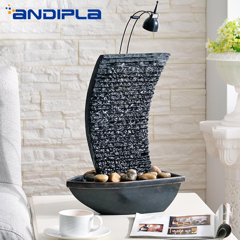 110 220V Creative Modern Water Fountain LED Waterfall Micro Landscape Ceramic Crafts Office Desktop Lucky Ornaments Home Decor