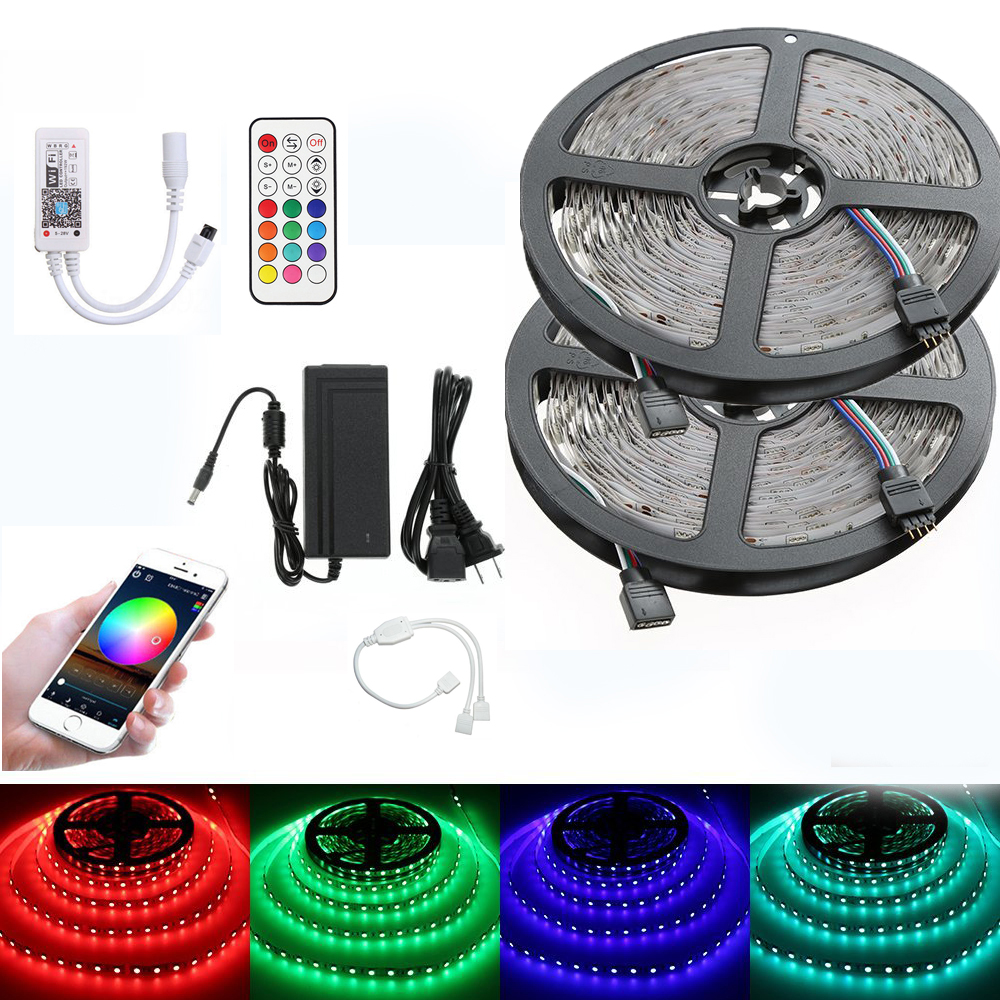 5m 10m RGB LED Strip light 5050 2835 SMD WiFi Controller Set Alexa Google Home 21Key RF Remote christmas string Power Adapter 10m 5m 3528 5050 rgb led strip light non waterproof led light 10m flexible rgb diode led tape set remote control power adapter