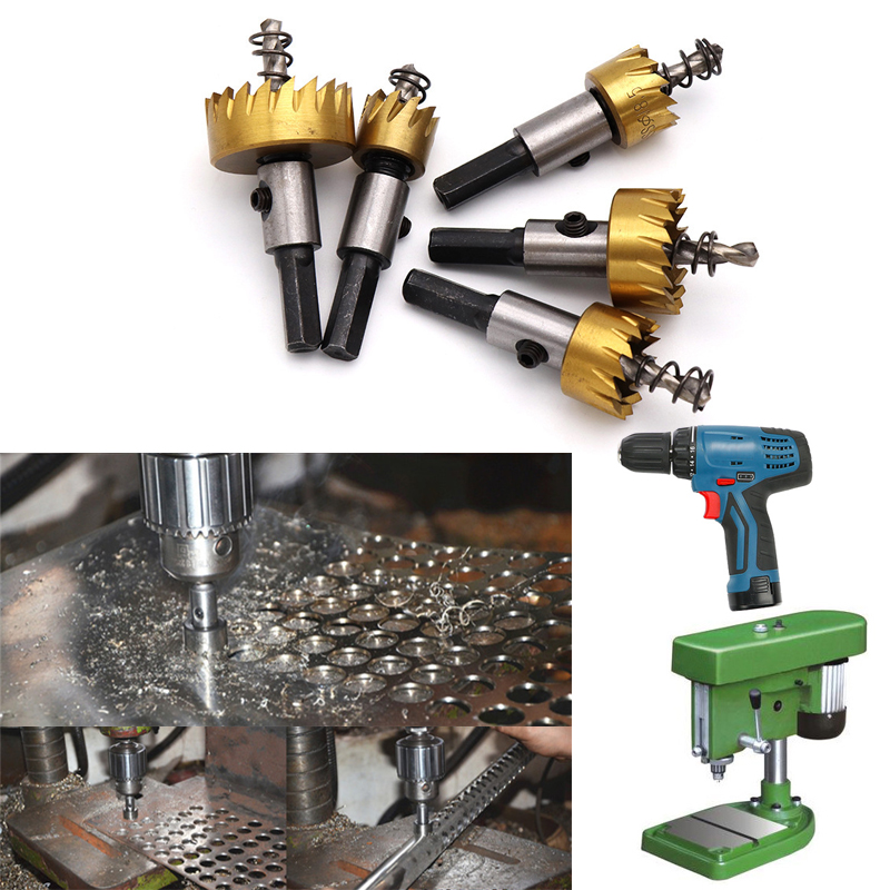 1 Pcs Carbide Tip HSS Steel Hole Saw Wood Drilling Hole Cut Tool Core Drill Bit Metal Drilling For Installing Locks 16mm-80mm
