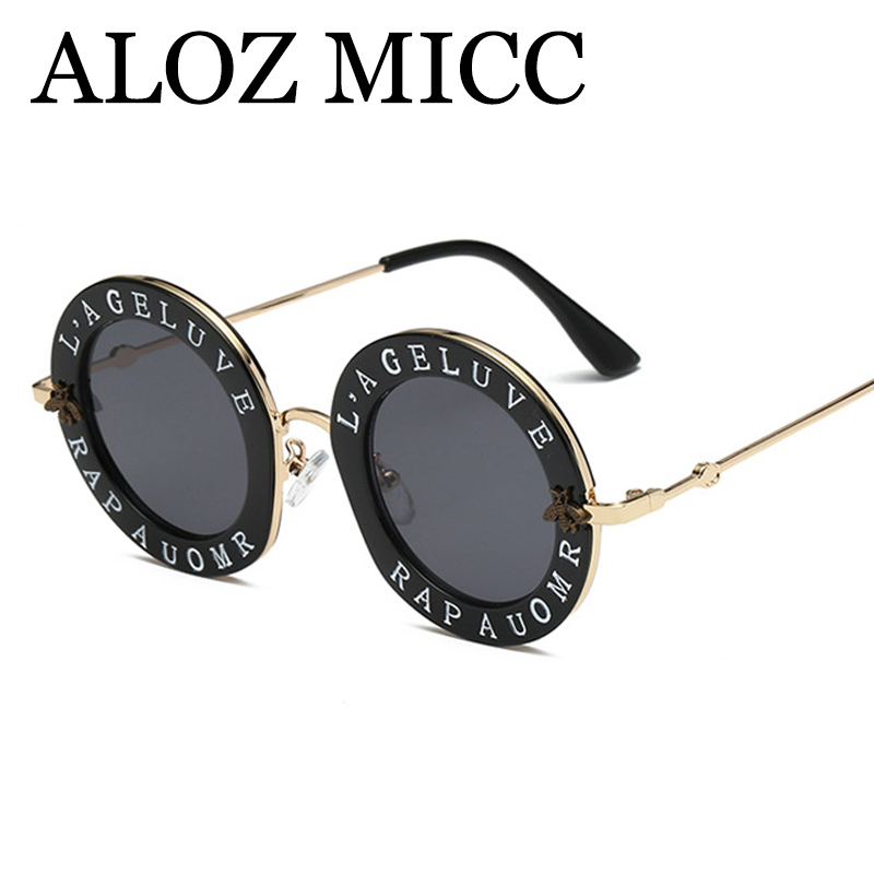 ALOZ MICC Brand Retro Round Letters Sunglasses Women Luxury Letters Clear Frame Fashion Men Sun Glasses Hot Unisex Eyewear Q167