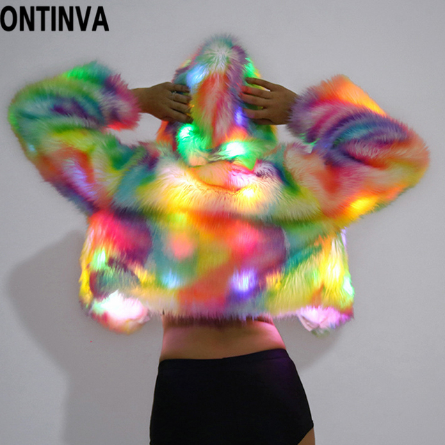 Faux Fur Hooded Coat Jacket Rainbow LED Lights Long Sleeve 2018 Autumn Winter Plus Size 4XL XL Halloween Christmas Party Costume 3