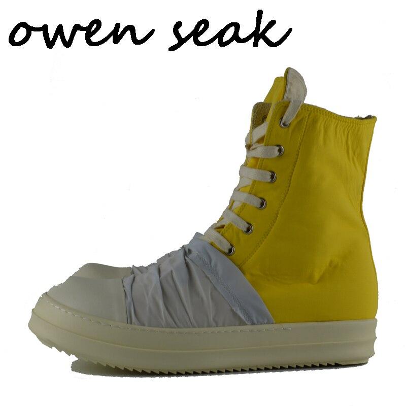 Appartements Toile Owen Hommes Casual Cheville Zip Formateurs Bottes Taille Lace Grande Up 2018 Marque top De Seak Sneaker Chaussures Luxe Haute Noir qtFZdEEUwx