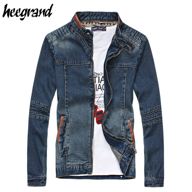Jacket Men 2016 New Fashion Denim Zipper Cool Casual Slim Fitness Spring Style Plus Size 5XL Jacket Men MWJ1659