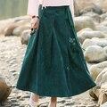 Saias Das Mulheres Cor Verde Plus Size XL com Faixas SkirtCotton da Cópia Floral Casual Longo Maxi Saia