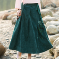 Skirts Women Green Color Plus Size XL with Sashes Floral Print Casual Long SkirtCotton Maxi Skirt