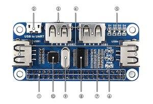 Image 5 - Waveshare USB לuart ממיר 4 יציאת USB HUB כובע עבור פטל Pi 2B/3B/3B +/ אפס/אפס W תואם עם USB2.0/1.1