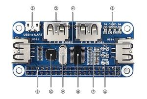Image 5 - Waveshare convertisseur USB vers UART, 4 ports USB pour Raspberry Pi 2B/3B/3B +/Zero/Zero W, compatible avec USB 2.0/1.1
