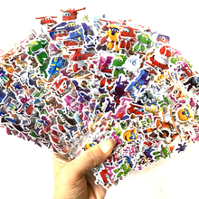 12 Sheets/lot 3D Puffy Bubble Stickers Cartoon Super Wings Jett airplane DIY For Children Boy Girl Toys PVC Removable