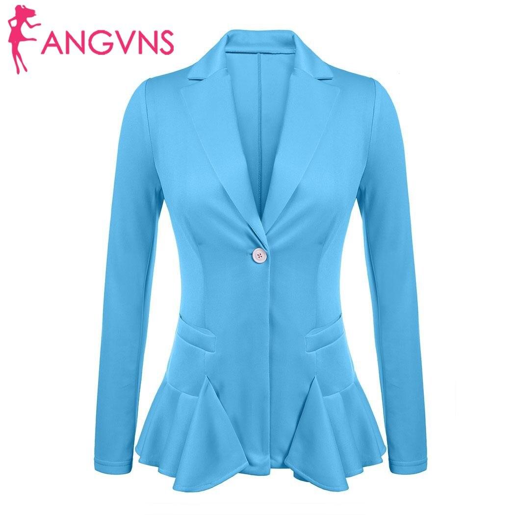 ANGVNS Womens Lapel Blazer Autumn Notch Ruffles Hem Elegant Office Lady Slim Blazer Solid One Button Fit Feminino Black Blazer