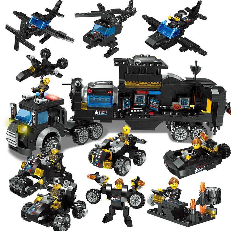 78Pcs/Set City SWAT Team Building Block Helicopter Truck Assemble brick Compatible legoING City Police Toys for Children