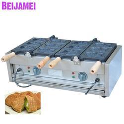 BEIJAMEI 6 ryby elektryczny Taiyaki maszyna do produkcji/handlowych taiyaki wafel maszyny/ryby maszyna do produkcji ciasta