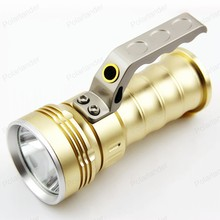 Flashlight LED flashlight Searchlight 5 w Portable Rechargeable gold/black for Outdoor Travel search daily carry lighting