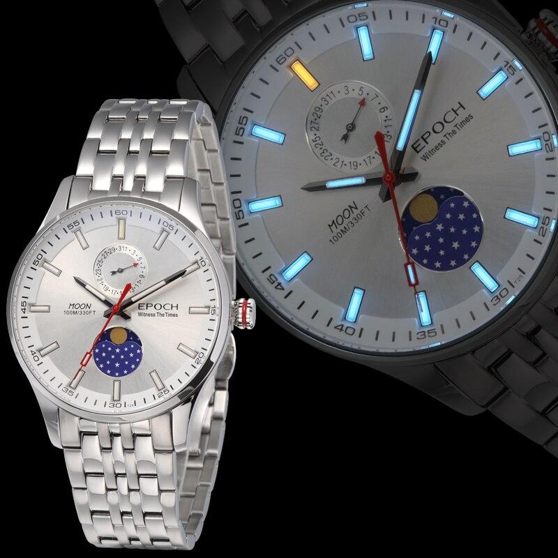 Époque hommes montre à quartz hommes montres top marque luxe T100 tritium lumineux saat phase de lune relogio masculino reloj hombre 6021GS