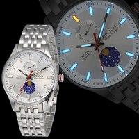 Эпоха Мужские кварцевые часы мужские часы лучший бренд класса люкс T100 светящиеся тритиевые saat moon phase relogio masculino reloj hombre 6021GS