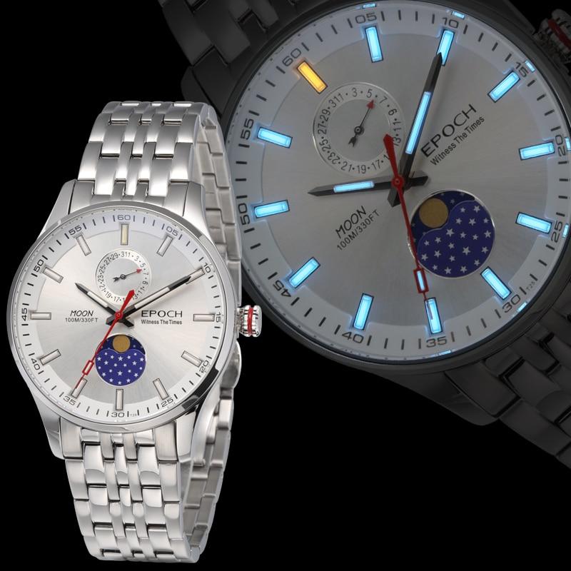 Epoch men quartz watch mens watches top brand luxury T100 tritium luminous saat moon phase relogio masculino reloj hombre 6021GS