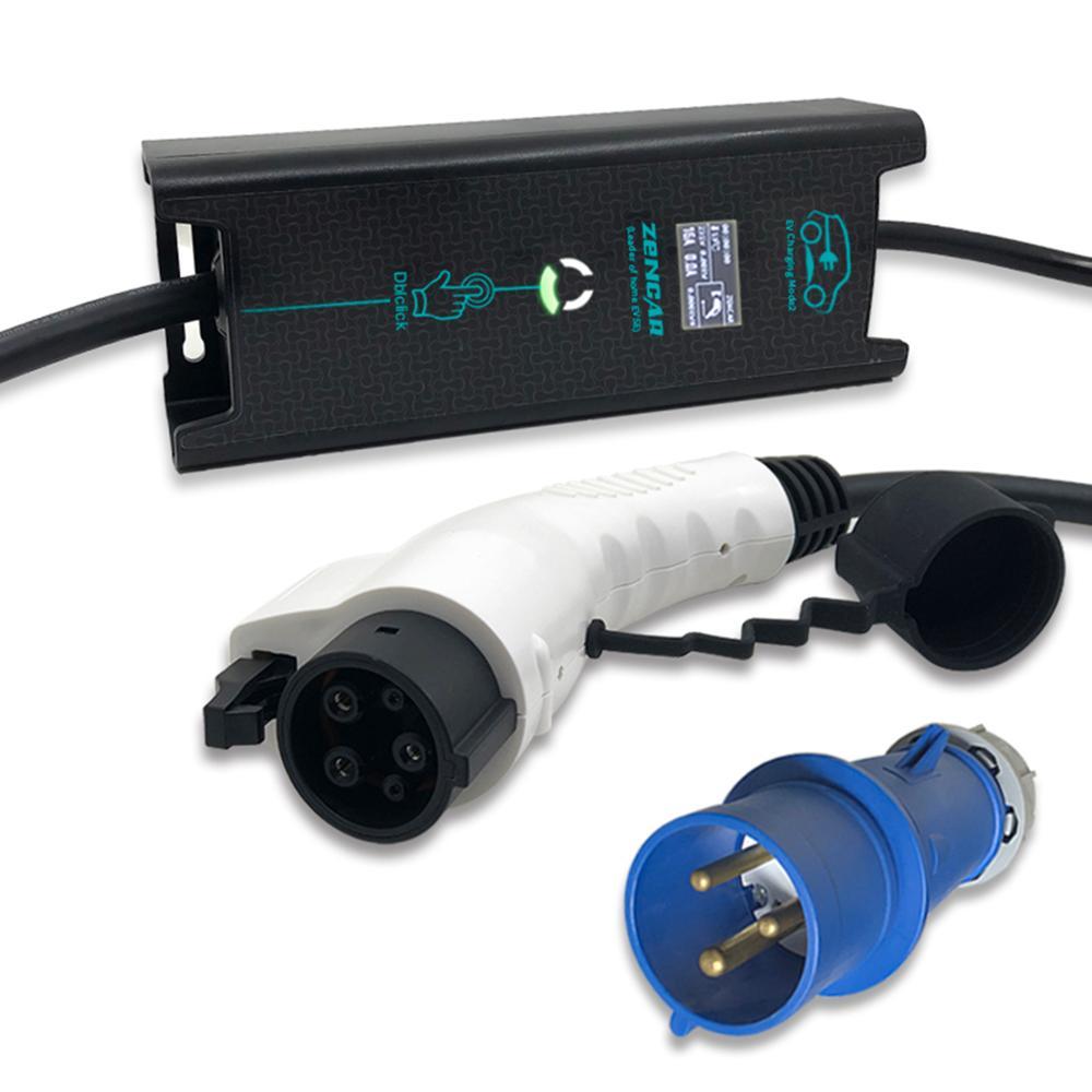 CEE 3 pinos plugue SAE J1772 Tipo 1 5 pinos ajustáveis EVSE10 16 20 24 32A 5 M cabo para carro elétrico casa Cobrando Função Timer