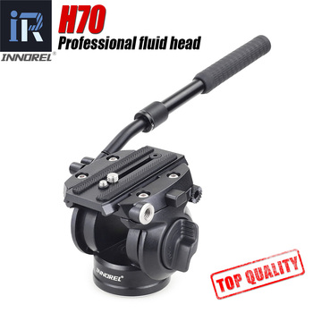 H70 Video Tripod head Fluid monopod Head Hydraulic Damping for DSLR camera Bird Watching 8kg load Portable 2 sections handle f60 f80 video fluid head panoramic hydraulic dslr camera tripod head for monopod slider adjustable handle manfrotto q r plate